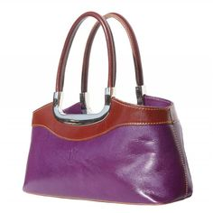 Purple leather handbag with brown handles is full of elegance and simple design for every women. Two colors and silver hardware is chic combination. Please check on necessities. Mini Handbags, Leather Handbags, Purple Leather, Colorful Interiors, Calf Leather, Silver Color, Simple Designs, Calves, Shoulder Strap