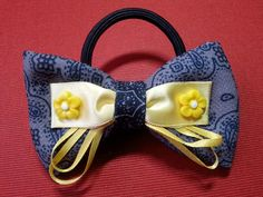 ribbon bow with yellow flowers ponytail holder 118L