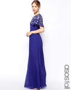 ASOS TALL Embellished Sleeve Pleated Maxi