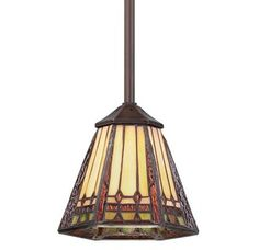 View the Quoizel TFAN1506 Arden 1 Light Mini Pendant with Tiffany Stained Glass at LightingDirect.com.