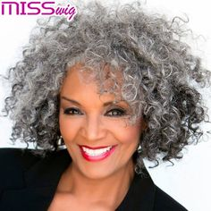 Creative ideas regarding excellent looking women's hair. Your own hair is without a doubt what can certainly define you as an individual. To several individuals it is undoubtedly important to have a great hair do. Hair and beauty. Grey Curly Hair, Silver Grey Hair, Kinky Curly Hair, Curly Hair Styles, Natural Hair Styles, Long Curly, Wavy Hair, Grey Wig, Lilac Hair