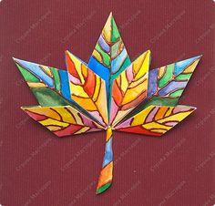 handvaardigheid - herfstbladeren, eerst vouwen, dan beschilderen