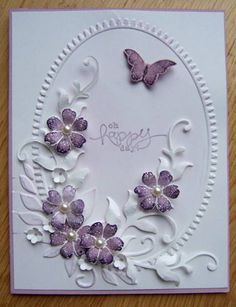 Great techniques - Butterfly and flowers by Dolly Watt - Cards and Paper Crafts at SplitcoaststampersBy Dolly Watt. Dry embossed frame with die-cut flowers and leafy flourish.I must be in a purple mood, even wearing purple today. Making Greeting Cards, Greeting Cards Handmade, Butterfly Cards, Flower Cards, Embossed Cards, Handmade Birthday Cards, Card Birthday, Mothers Day Cards, Sympathy Cards