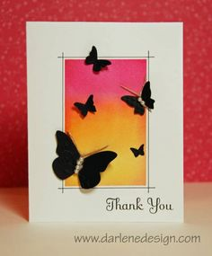 Stampin Up Beautiful Wings. Stunning masked background. Would also work with acrylic block stamping. Dark butterflies on a colourful background.