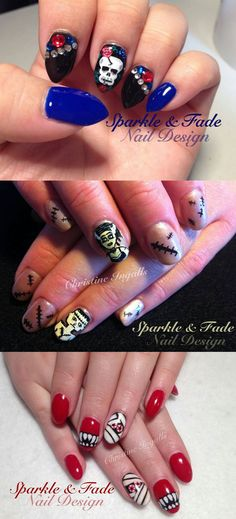 Halloween nails by Christine Ingalls - Sparkle and Fade Nail Design