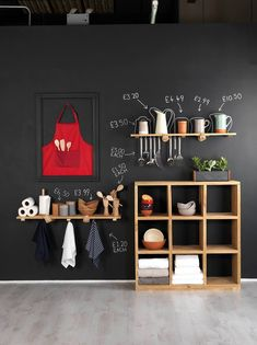This chalkboard wall would be so fab to use in a store, or even at home! Perhaps on the inside of a cupboard or in the kitchen somewhere? We sell blackboard paint and pens so you can recreate this look at home!