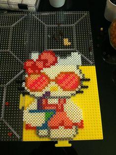 Hello Kitty with martini perler beads by Kat Jones