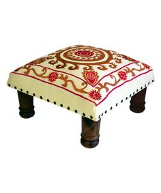 Look what I found on #zulily! Red & White Spiral Embroidered Foot Stool #zulilyfinds