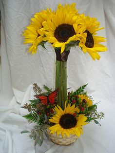 daisy flower arrangement centerpieces | Sunflower Topiary - Centerpieces - Wedding
