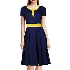 WOOSEA Women's 2/3 Sleeve Colorblock Slim Bodycon Business Pencil Dress (Small, Black)