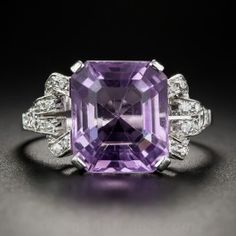 Amethyst and Platinum and Diamond Art Deco Ring - Antique & Vintage Gemstone Rings - Vintage Jewelry