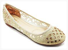 Walstar Women Basic Glitter Mesh Rhinestone Flat Slip on Shoes (*Partner Link)