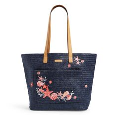 Perfect for the beach, this straw tote features a front pocket and a hidden pocket in the base to keep valuables out of sight. Interior features a hidden zip pocket in bag base Care Tips: Spot clean Chanel Handbags 2017, Fashion Handbags, Purses And Handbags, Vera Bradley Tote Bags, Straw Tote, Marc Jacobs Bag, Womens Tote Bags, Womens Purses, Vintage Handbags