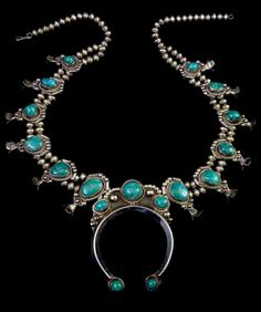 206g Vintage Old Pawn Navajo Sterling Silver Squash BLossom Necklace w Beautiful Kingman Turquoise! Fabulous All-Time Classic!