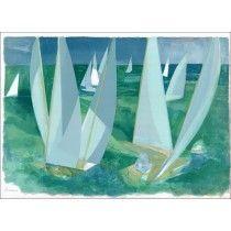 """Camille HILAIRE - Lithographie Originale """"Régate en Normandie"""" 55x75cm, signée au crayon"""