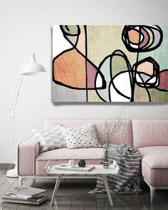 Abstrait coloré vibrant-61. Mid-Century Modern vert rose toile Art Print, milieu du siècle moderne toile Art Print jusquà 72 par Irena Orlov Wall Art déco pour la maison, bureau ou hôtel SURF ART ABSTRAIT Avec des couleurs rétros et des formes géométriques formés gratuites, toutes les