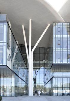 Tbilisi Public Service Hall Design by Studio Fuksas - Architecture & Interior Design Ideas and Online Archives Hall Design, Facade Design, Roof Design, Canopy Architecture, Facade Architecture, Minimalist Architecture, Steel Columns, Column Design, Bridge Design