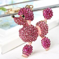 New Poodle Dog Lovely Charm Pendant Rhinestone Crystal Purse Bag Key Chain Women In Jewelry Gift Fashionable Ornaments