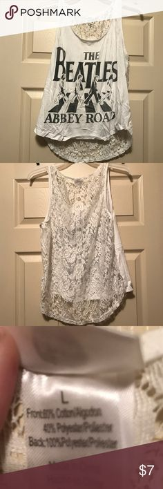 Beatles Abbey Road shirt with lace back The Beatles Abbey Road shirt. Back is lace. Size large. Tops Tank Tops