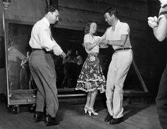 """Jimmy Stewart and Donna Reed rehearsing the Charleston scene for """"It's a Wonderful Life"""""""