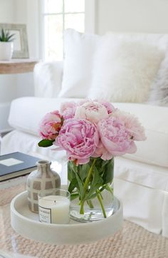 Inspiring, Bright & Comfortable Spaces: THIS is a Home to Behold! Pink peonies are always in style in a feminine room to add just a pop of color to a room filled with white and neutral tones. Coffee Table Styling, Decorating Coffee Tables, Coffee Table Tray, Flower Decorations, Table Decorations, Fake Flowers Decor, Silk Flower Centerpieces, Peonies Centerpiece, Exotic Flowers