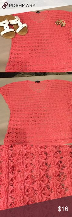 Beautiful coral crocheted top The Limited.   Size XS.   Pretty coral color The Limited Tops Blouses