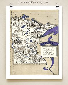 Hey, I found this really awesome Etsy listing at https://www.etsy.com/listing/162828245/minnesota-picture-map-size-color-choices