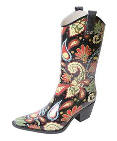 Love this Black Paisley Yippy Rain Boot on #zulily! #zulilyfinds
