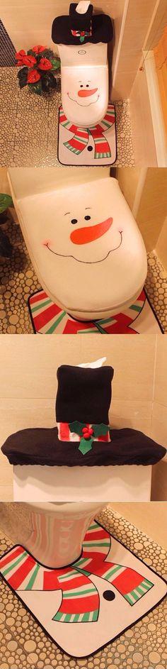 Creative Christmas Decoration 3PCS Snowman Toilet Cover Sets