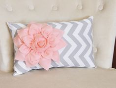 Chevron Lumbar Pillow Light Pink on Gray and White Zig Zag Lumbar Pillow 9 x 16