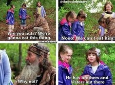 Phil tries to talk some sense into his yuppie granddaughters and succeeds with one who loves eating catfish.