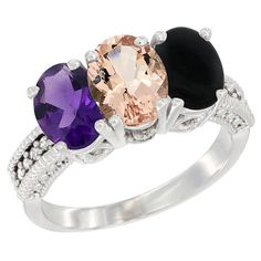 14K White Gold Natural Amethyst, Morganite and Black Onyx Ring 3-Stone 7x5 mm Oval Diamond Accent, sizes 5 - 10 *** Tried it! Love it! Click the image. : Ring Bands