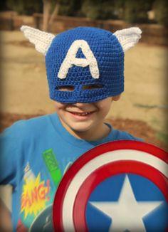 Captain America Super hero crochet mask hat.