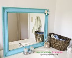 GoodWill Mirror Makeover   Gold To Beachy | Painted Furniture And Makeovers  | Pinterest | Mirror Makeover, Paint Furniture And House