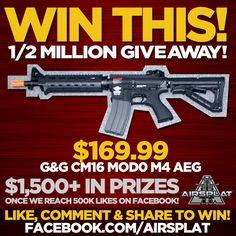 **WIN A $169.99 G&G CM16 MOD 0 M4 AEG from AirSplat!** http://blog.airsplat.com/2015/01/12-million-fans-giveaway.html  #airsoft #airsplat #halfamillion #million #giveaway #free #freeguns #airsoftgun #airsplatpride #mod0 #m4 #sopmod #aeg #rifleman #winthis #airsplatfreestuff #airsplatgiveaway #airsplatawesome