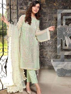 Stuff Embroidered Crinkle Chiffon Front 1 M Crinkle Chiffon Back 1 M Embroidered Patch For Front 1 M Embroidered Crinkle Chiffon Sleeves M Sleevs Embroidered Patch 1 M Embroidered Net Dupatta M Dyed Silk Trouser M Clothes For Sale, Clothes For Women, Pakistani Designer Suits, Pakistani Salwar Kameez, Pakistani Bridal Wear, Chiffon Material, 3 Piece Suits, Wedding Suits, Designer Wear