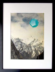 Druck mit Berglandschaft und grafischem Element // print with mountains and graphic by daygreen via DaWanda.com