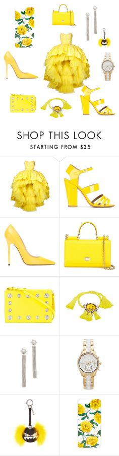 """""""Yellow fashion floral matchings..."""" by jamuna-kaalla ❤ liked on Polyvore featuring Mikael D, Laurence Dacade, Jimmy Choo, Dolce&Gabbana, Versus, Shourouk, Rebecca Minkoff, Michael Kors, Fendi and Sonix"""