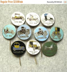 This listing is for a set of 10 metal enamel pins which were dedicated to retro automobiles. These pins were made in Poland in 70s and they are quire rare.  Diameter of each pin in this set is 23 mm (1 inch). All badges are in a good condition. More coat auto theme pins are available here: http://etsy.me/1LbX1vz ***************************************** When and how you will get your order?  ♥ All items will be shipped from Ukraine; ♥ All paid orders will be shipped within 48 h...