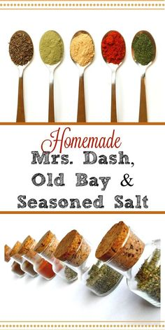 Why are you wasting money on stale store-bought spice mixes? Make your own Mrs. Dash, Old Bay and Seasoned Salt for pennies with fresher spices and no nasty fillers. #seasonings #spiceblends