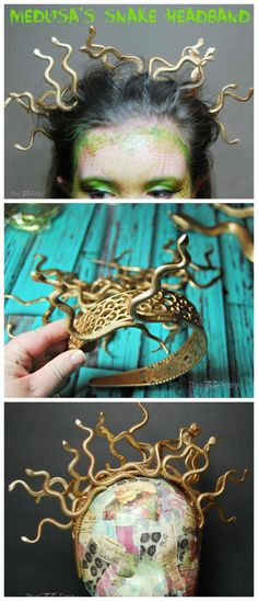 Learn to easily make this fun Snake Headband for your Medusa costume this with items from the dollar store! via Learn to easily make this fun Snake Headband for your Medusa costume this with items from the dollar store! Disney Halloween, Diy Halloween Headbands, Medusa Halloween Costume, Halloween Tags, Dollar Store Halloween, Halloween Party Supplies, Couple Halloween, Halloween 2018, Diy Halloween Costumes