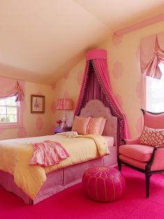 Yellow  pink girls bedroom design with yellow walls paint color, hot pink leather Moroccan pouf, pink window treatment, pink carpet squares, pink linen chair, pink tufted headboard with pink bed skirt, yellow quilt, purple nightstand and pink canopy. #Recipes