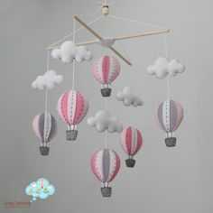 Hot Air Balloon, Baby Mobile, Pink and Gray, Nursery Decor, Heirloom