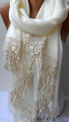 Wedding shawls Cream Pashmina shawls Champagne French Lace Dainty Lightweight So Soft Cream Bridesmaid Summer Bridal shawl Feminine  Thank you for