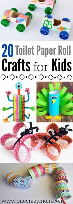 Get creative and use what you already have at home! Make these toilet paper crafts for kids. 20 toilet paper roll crafts that are so fun to make. Toilet Paper Roll Crafts, Paper Crafts For Kids, Easy Crafts For Kids, Easy Diy Crafts, Art For Kids, Paper Crafting, Bug Crafts, Camping Crafts, Crafts To Do