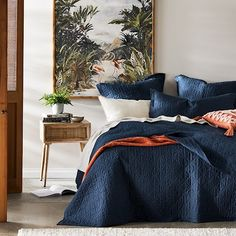 Home Republic - Vintage Washed Linen Old Navy Quilt Cover Blue Master Bedroom, Bedding Master Bedroom, Linen Bedroom, Home Bedroom, Bedroom Ideas, Navy Bedroom Decor, Bedroom Inspo, Navy Blue Bedding, Navy Quilt