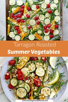 These Tarragon Roasted Summer Vegetables feature fresh zucchini, bell peppers, tomatoes, green beans, and corn tossed in olive oil, lemon, and tarragon. It's a delicious, fresh, and easy recipe that makes a great vegan side dish for the summer. #summerveggies #itsavegworldafterall #tarragon #zucchini