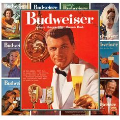 "Mini Posters [13 posters 8""x11""/A4] Budweiser Beer Ads Vintage Adverts MP481 