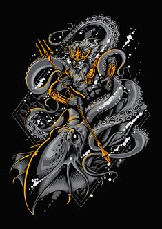 I'm using the old concept about neptune and kraken fight each other, with new feel and vector process. This is it the final result for car… Poseidon Tattoo, Dragon Tattoo Art, Samurai Artwork, Mythology Tattoos, Japanese Tattoo Art, Dark Fantasy Art, Oeuvre D'art, Vector Art, Tattoo Designs
