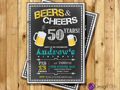 Adult Birthday Invitation for Men. Beers & Cheer  by ByDesignDen